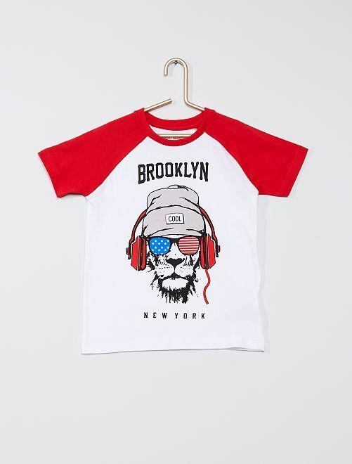 Camiseta bicolor 'Minoti'                             blanco/rojo