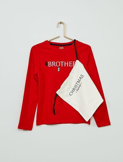 Camiseta + bolsa de 'Navidad' 'eco-concepción'                                                     ROJO