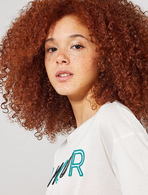 Camiseta bordada 'amour'                                         BEIGE