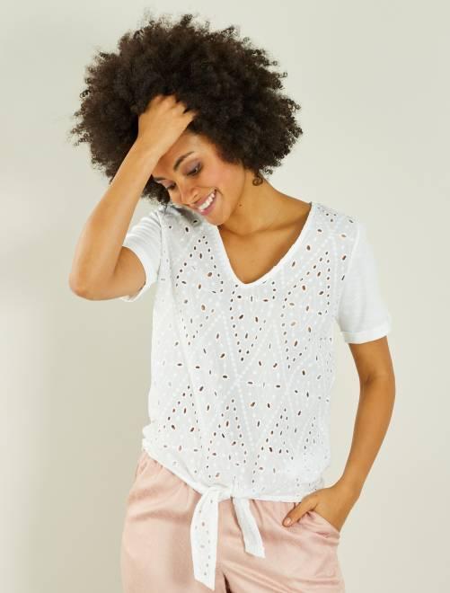 Camiseta bordada anudable mujer blanco nieve kiabi for Blanco nieve