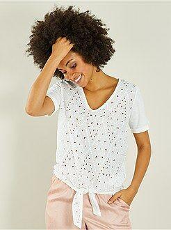 Camiseta bordada anudable - Kiabi