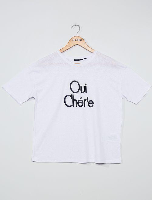 Camiseta bordada                                         AZUL