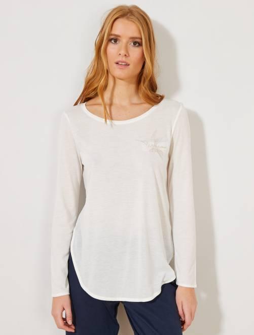 Camiseta bordada                                                                 BLANCO Lencería de la s a la xxl