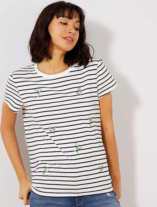 Camiseta bordada                             BLANCO Mujer talla 34 a 48