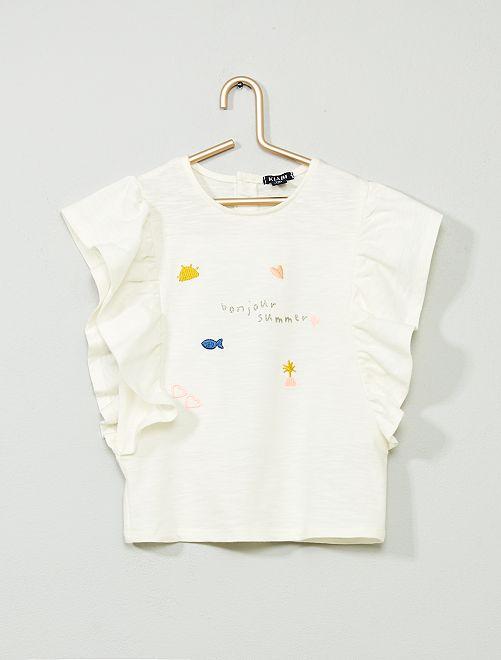 Camiseta bordada con volantes                             BLANCO Bebé niña