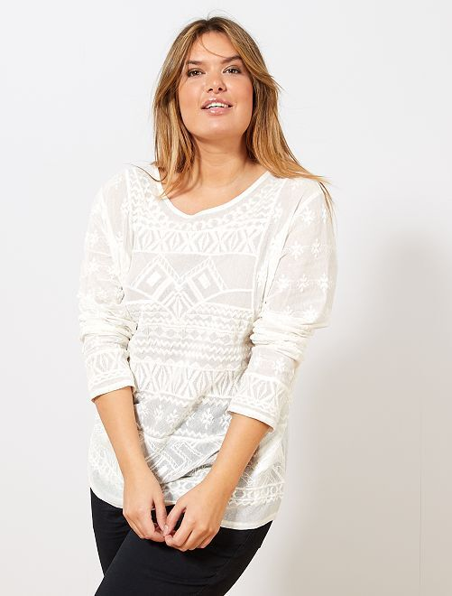 Camiseta bordada de malla                                 blanco nieve