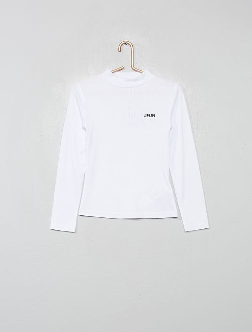 Camiseta bordada de punto de canalé                                         BLANCO