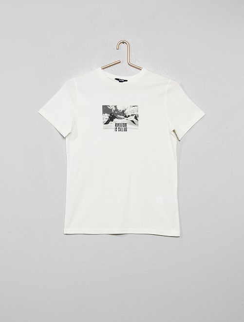 Camiseta bordada estampada foto                             blanco nieve