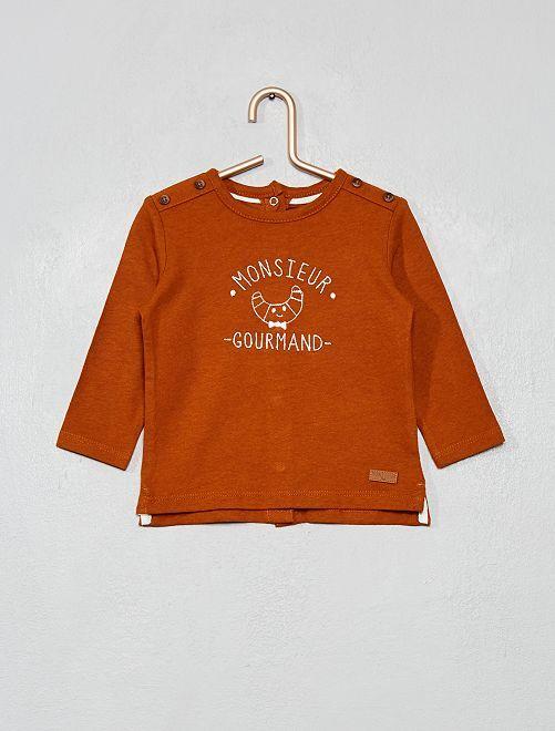 Camiseta bordada                                         MARRON