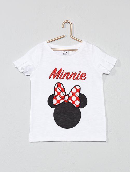 Camiseta bordada 'Minnie'                             blanco Chica
