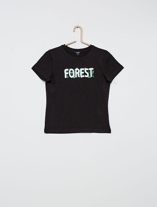 Camiseta bordada                                         negro
