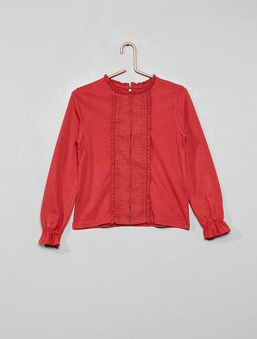 Camiseta bordada                                                                             rojo granate