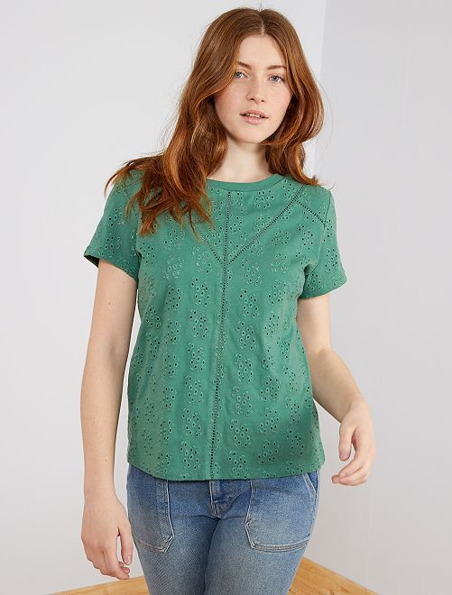 Camiseta bordado inglés total                                         verde pino Mujer talla 34 a 48