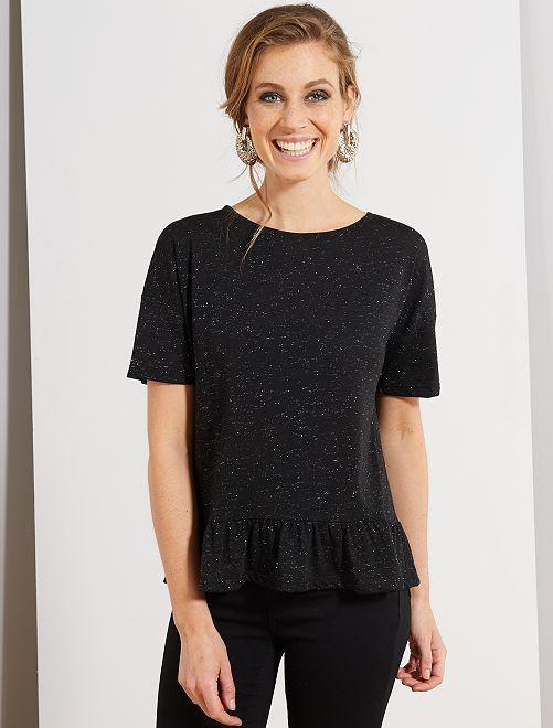 Camiseta brillante con faldón                             negro
