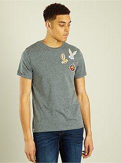 Camisetas gris - Camiseta 'Bugs Bunny' con bolsillo en el pecho - Kiabi
