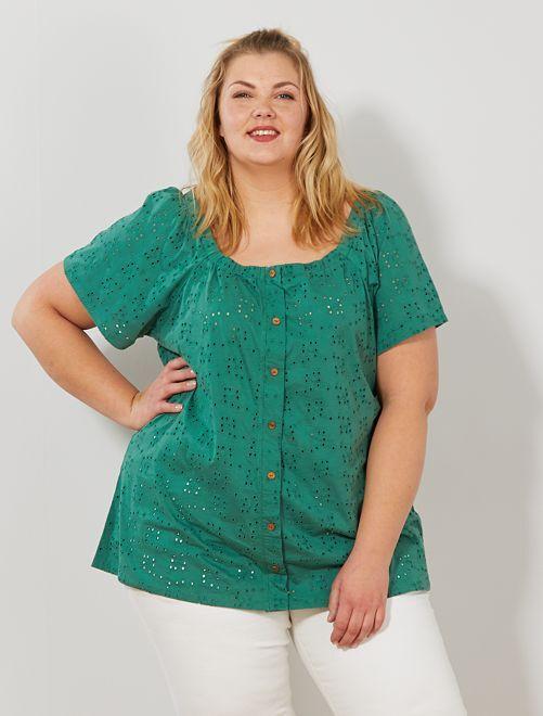 Camiseta calada con manga mariposa                                                     verde pino Tallas grandes mujer