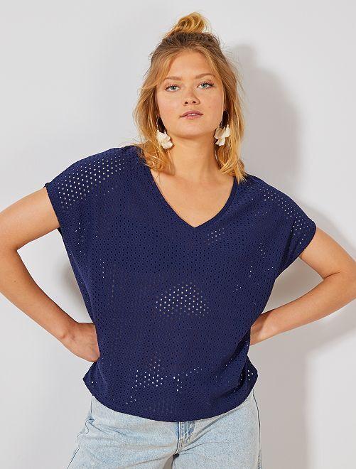 Camiseta calada de fantasía                                                     azul oscuro Mujer talla 34 a 48