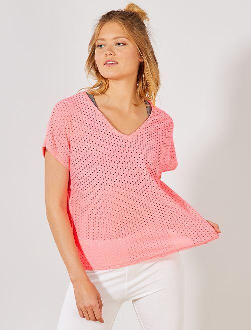 Camiseta calada de fantasía                                         rosa
