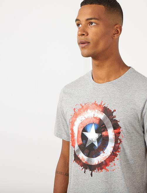 Camiseta 'Capitán América'                             gris chiné Hombre