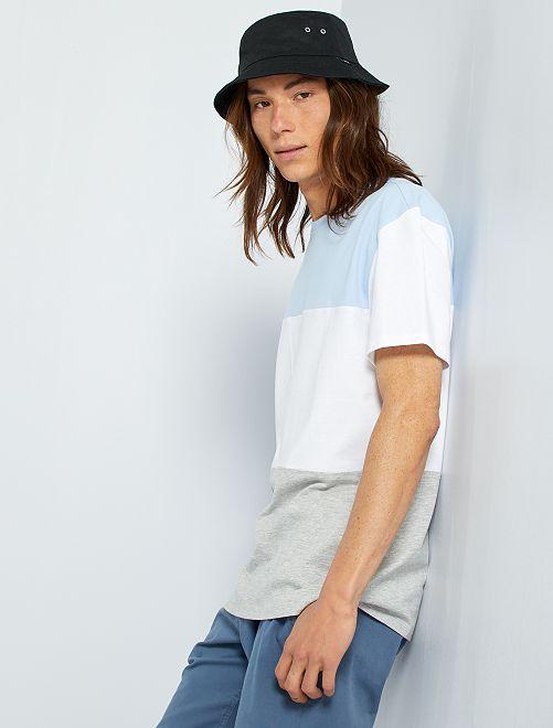 Camiseta colorblock                                         azul / blanco / gris