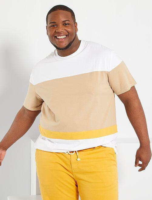 Camiseta colorblock                                         BEIGE
