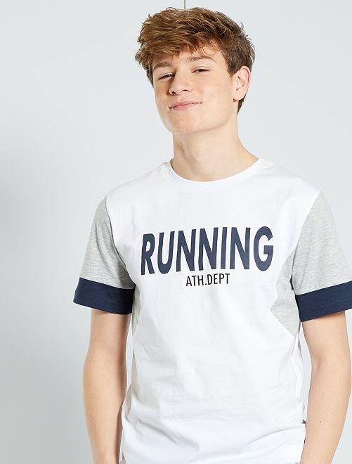 Camiseta colorblock                     BLANCO