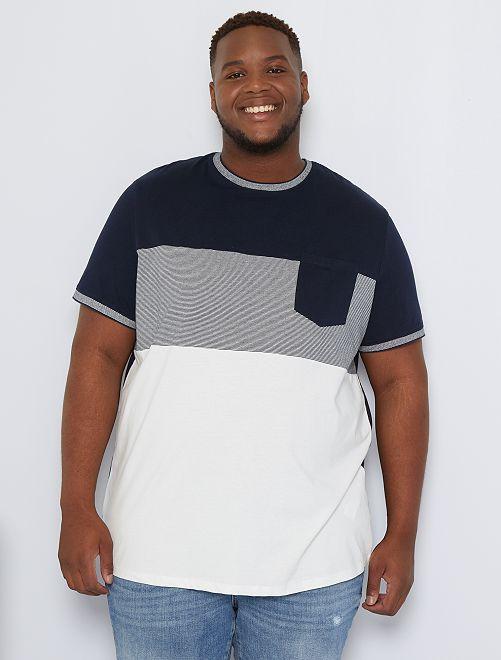Camiseta colorblock bolsillo pecho                                         azul