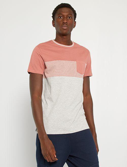 Camiseta colorblock con bolsillo en el pecho                                                     ROSA