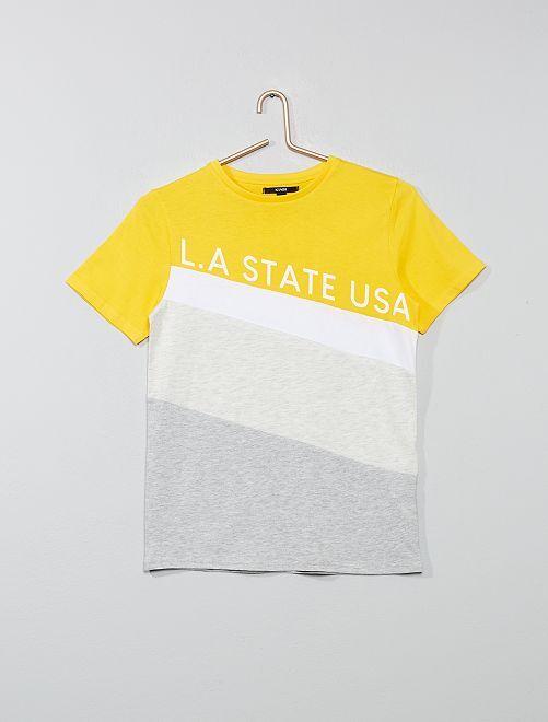 Camiseta colorblock con costuras diagonales                                                     AMARILLO Joven niño