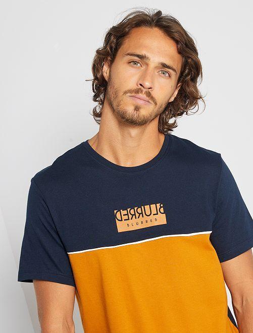 Camiseta colorblock con mensaje                                                                 MARRON