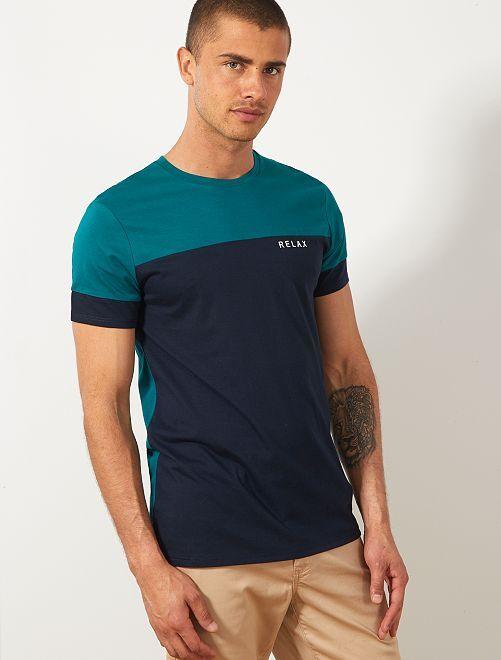 Camiseta colorblock con mensaje                                                     VERDE