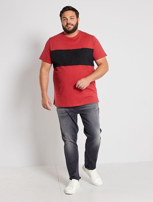 Camiseta colorblock con relieve                                         ROJO