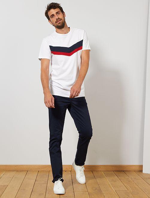 Camiseta colorblock de algodón orgánico +1,90 m                     BLANCO