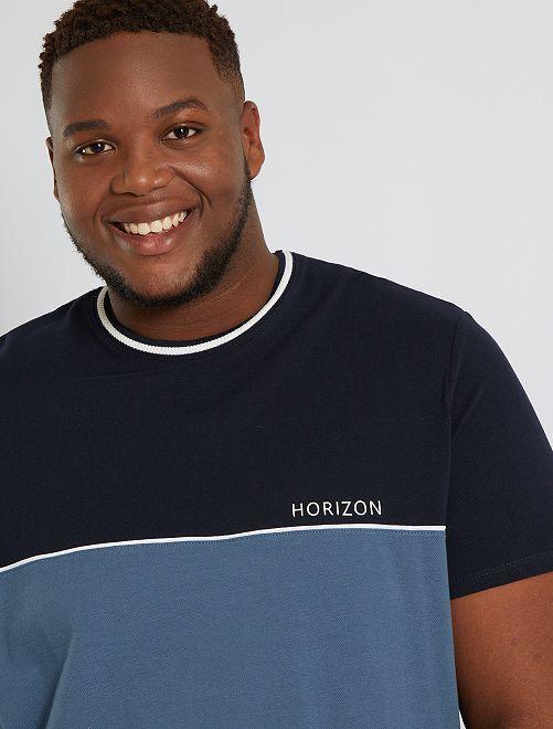 Camiseta colorblock de piqué                                         AZUL