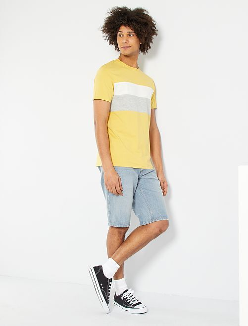 Camiseta colorblock eco-concepción                                                                                                                 amarillo anaranjado