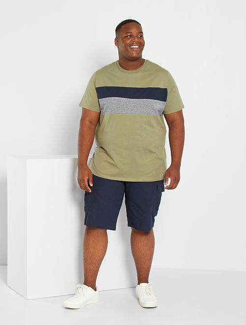 Camiseta colorblock eco-concepción                                         verde liquen