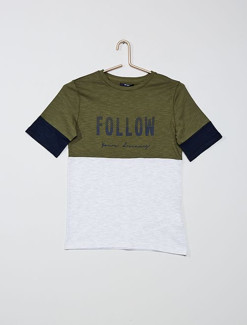 Camiseta colorblock                             KAKI
