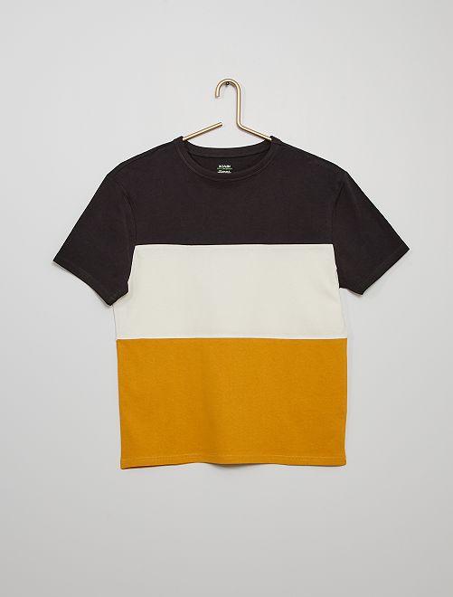 Camiseta colorblock                                                                 NEGRO