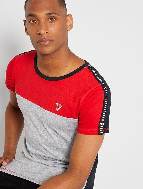 Camiseta colorblock                                         rojo/gris