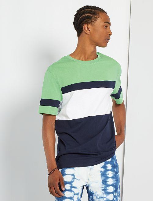 Camiseta colorblock                                                                 VERDE