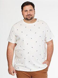 Tallas grandes hombre Camiseta cómoda de punto con estampado deportivo