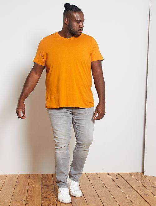 Camiseta cómoda de punto lisa                                                                                                                                         AMARILLO