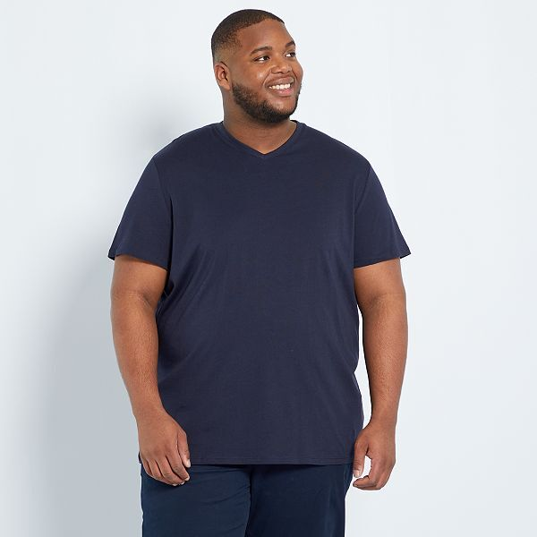 Camiseta Comoda De Punto Lisa Tallas Grandes Hombre Azul Kiabi 5 00