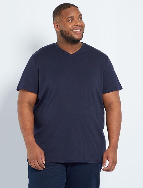 Camiseta cómoda de punto lisa                                                                                                                                                                             AZUL