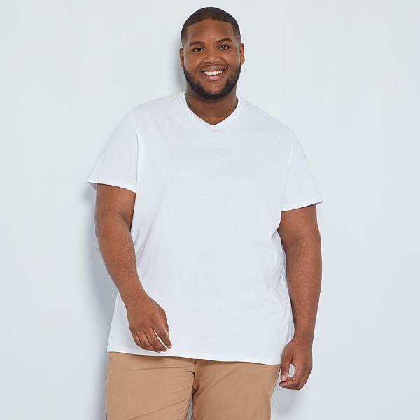 Camiseta Comoda De Punto Lisa Tallas Grandes Hombre Blanco Kiabi 5 00
