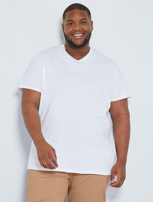 Camiseta cómoda de punto lisa                                                                                                                                                                 blanco Tallas grandes hombre
