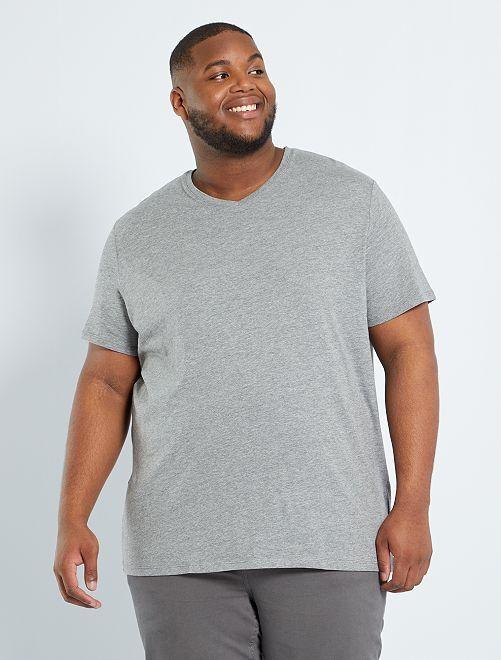Camiseta cómoda de punto lisa                                                                                                                     GRIS Tallas grandes hombre