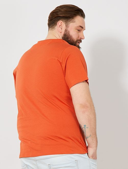483136c04 Camiseta cómoda de punto lisa Tallas grandes hombre - naranja ...