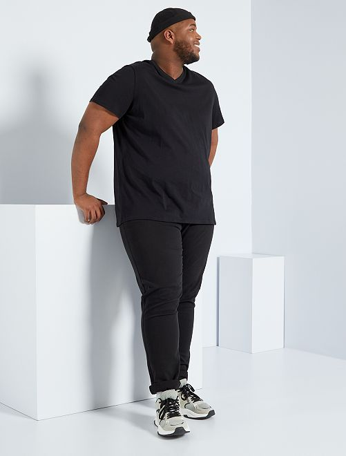 Camiseta cómoda de punto lisa                                                                 negro