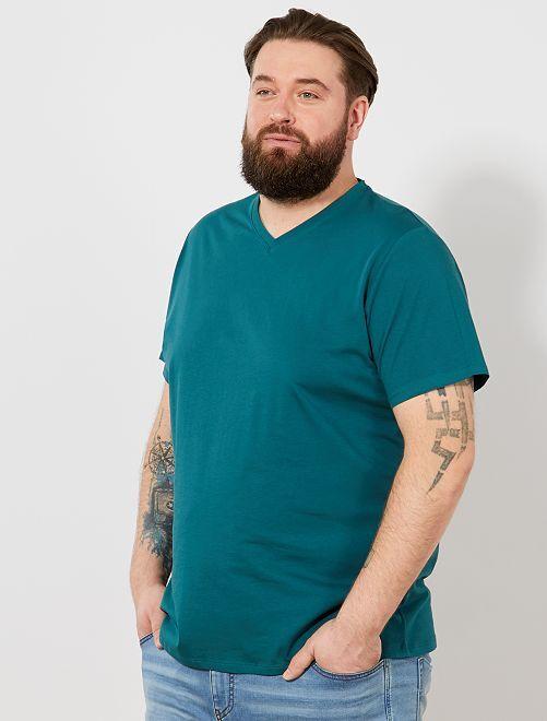 Camiseta cómoda de punto lisa                                                                                                                                                                 verde Tallas grandes hombre
